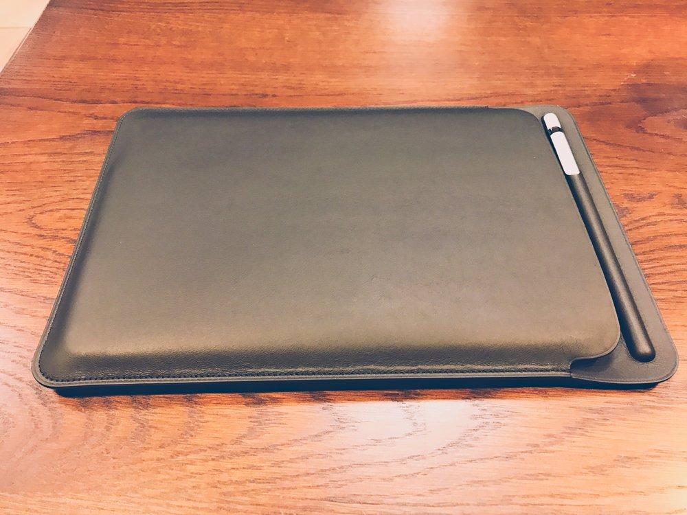 The leather sleeve + iPad Pro + leather sleeve