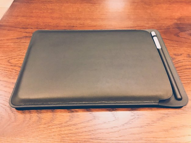 The leather sleeve + iPad Pro + leather sleeve